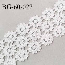 Galon ruban guipure 62 mm motif fleurs couleur naturel largeur 62 mm prix au mètre