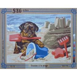 canevas 40x50 marque SEG DE PARIS chien toutou a la plage dimension 40 centimètres par 50 centimètres 100 % coton