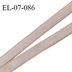 Elastique 7 mm lingerie et couture couleur taupe clair brillant haut de gamme Fabriqué en France largeur 7 mm prix au mètre