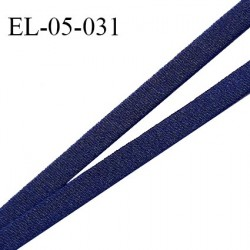 Elastique 5 mm lingerie haut de gamme fabriqué en France couleur bleu marine largeur 5 mm légèrement bombé prix au mètre