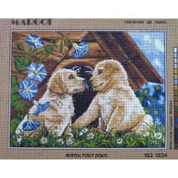 canevas 40x50 marque MARGOT DE PARIS chien bisous tout doux dimension 40 centimètres par 50 centimètres 100 % coton
