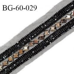 Galon 60 mm décor sequins couleur noir et métal cousus sur une bande de tulle noir prix au mètre