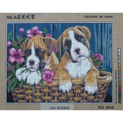 canevas 40x50 marque MARGOT DE PARIS chien les boxers dimension 40 centimètres par 50 centimètres 100 % coton