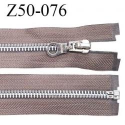 Fermeture zip 50 cm séparable couleur taupe zip glissière métal largeur 7 mm longueur 50 cm largeur 32 mm prix à l'unité