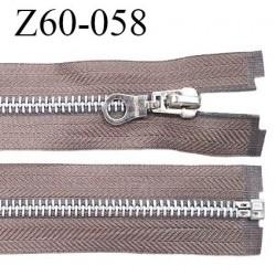 Fermeture zip 60 cm séparable couleur taupe zip glissière métal largeur 7 mm longueur 60 cm largeur 32 mm prix à l'unité
