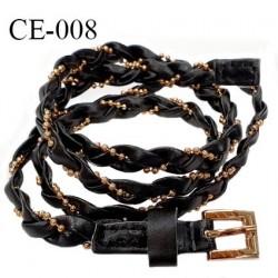 Ceinture 95 cm façon cuir tressé couleur noir avec bride perlée couleur or et boucle couleur or prix à l'unité