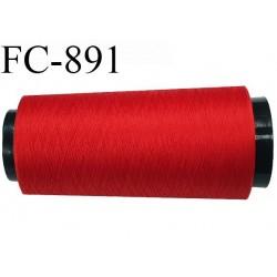 Cone 1000 m de fil mousse polyester  fil n° 110 couleur rouge cône de 1000 mètres bobiné en France