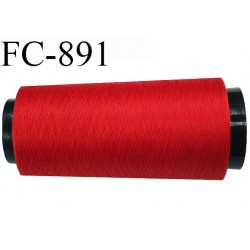Cone 2000 m de fil mousse polyester  fil n° 110 couleur rouge cône de 2000 mètres bobiné en France
