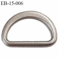 Boucle étrier 15 mm demi rond en métal style argent largeur extérieur 2 cm intérieur 1.5 cm  hauteur 13 mm
