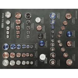 Plaque de 59 boutons pour création unique le plus gros diamètre 25 mm le plus petit diamètre 11 mm prix pour la plaque entière