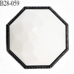 Bouton 28 mm forme octogonale dôme taillé couleur blanc et gris diamètre 28 mm épaisseur 12 mm prix à l'unité