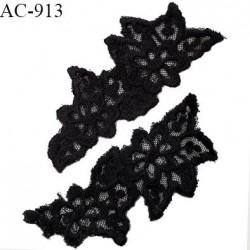 Décor ornement motif fleur dentelle brodée légèrement extensible largeur 5 cm hauteur 13 cm prix à la paire
