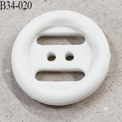 Bouton 34 mm en pvc couleur blanc brillant 2 trous diamètre 34 millimètres épaisseur 6 mm