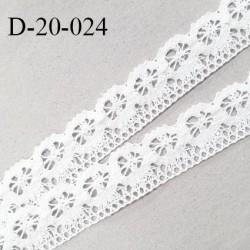 Dentelle 20 mm crochets couleur blanc largeur 20 mm prix au mètre