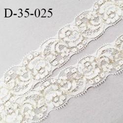 Dentelle 35 mm lycra extensible couleur blanc et or largeur 35 mm prix au mètre