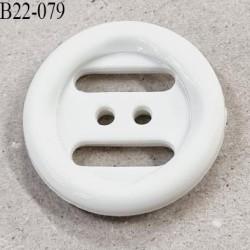 Bouton 22 mm en pvc couleur blanc brillant 2 trous diamètre 22 millimètres épaisseur 5 mm