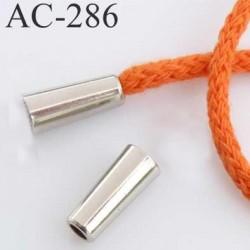 arrêt stop cordon avec embout bouchon  métal couleur chromé pour cordon de 5 mm  ou moins de diamètre prix à l'unité