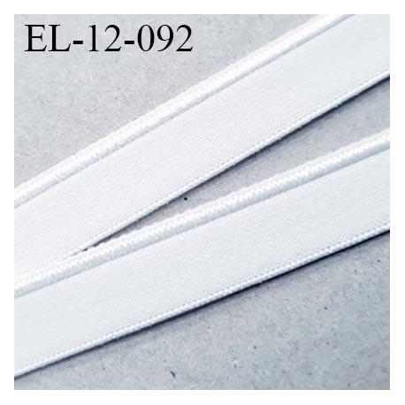 Elastique 12 mm bretelle lingerie haut de gamme fabriqué en France couleur blanc avec un petit liseret au bord prix au mètre