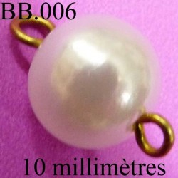 perle monté nacré diamètre 10 millimètres POUR REPARER OU CREER VOS BIJOUX BICHE DE BERE