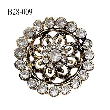 Bouton 28 mm en métal couleur laiton et strass couleur blanc argenté accroche avec un anneau prix à l'unité