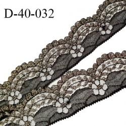 Dentelle 40 mm synthétique non extensible couleur noir et or largeur 40 mm prix au mètre