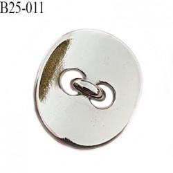 Bouton 25 mm en métal couleur chrome accroche avec un anneau largeur 22 mm hauteur 25 mm épaisseur 2.3 mm prix à l'unité