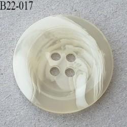 Bouton 22 mm en pvc couleur écru marbré en transparence 4 trous diamètre 22 mm épaisseur 4 mm prix à l'unité