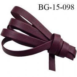 Biais galon ruban façon cuir recto verso superbe largeur 15 mm couleur bordeaux souple épaisseur 1.3 mm prix au au mètre