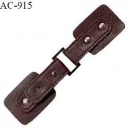 Brandebourg simili cuir couleur marron prune foncé longueur 15 cm largeur 3.5 cm prix à l'unité composé de deux éléments