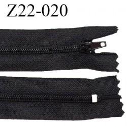 Fermeture zip à glissière longueur 22 cm couleur noir non séparable zip nylon largeur 3 cm largeur du zip 6 mm prix à l'unité