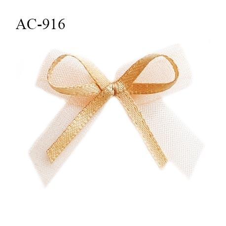 Noeud lingerie 32 mm en satin couleur chair sur mousseline couleur rose largeur 32 mm hauteur 32 mm prix à l'unité