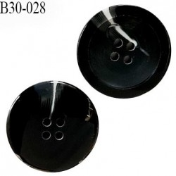 Bouton 31 mm en pvc couleur noir veiné blanc 4 trous diamètre 31 mm épaisseur 6 mm prix à l'unité
