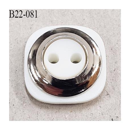 Bouton 22 mm 2 trous en pvc couleur blanc et chrome coté de 22 mm épaisseur 6 mm prix à l'unité