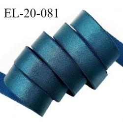 Elastique 19 mm bretelle et lingerie couleur bleu vert (fleur de lagune) brillant très beau fabriqué en France prix au mètre