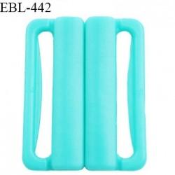 Boucle clip 25 mm attache réglette pvc spécial maillot de bain couleur bleu lagon prix à l'unité