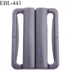 Boucle clip 25 mm attache réglette pvc spécial maillot de bain couleur prune parme clair prix à l'unité