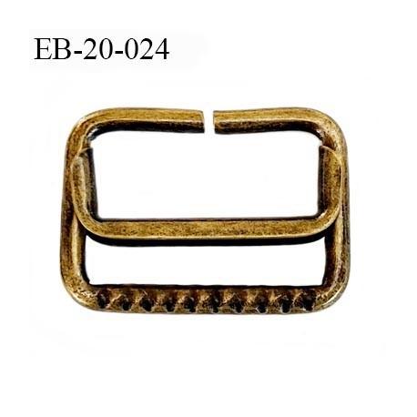 Boucle étrier rectangle  20 mm coulissant métal  couleur laiton vieilli largeur extérieur 2.7 cm intérieur 2 cm hauteur 2.1 cm