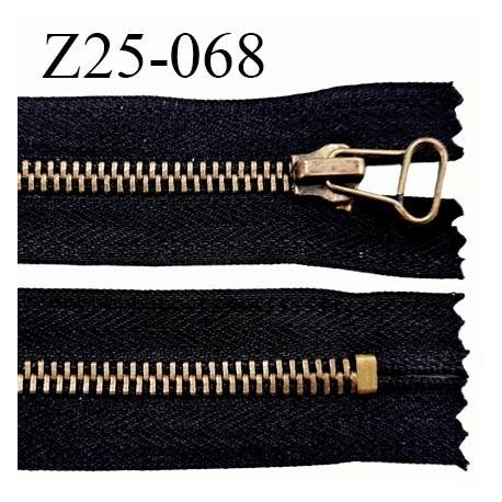 Fermeture zip 25 cm glissière métal couleur anthracite noir séparable métal laiton largeur 3 cm largeur glissière 6 mm
