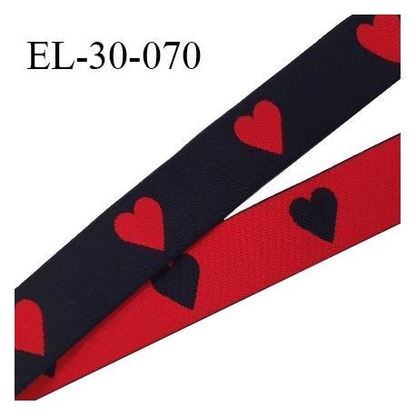 Elastique 30 mm spécial lingerie sport et caleçon motifs coeurs couleur noir et rouge haut de gamme prix au mètre