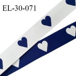 Elastique 30 mm spécial lingerie sport et caleçon motifs coeurs couleur bleu marine et blanc oeko tex prix au mètre