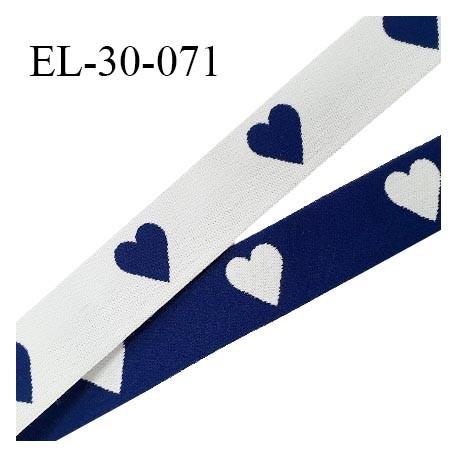Elastique 30 mm spécial lingerie sport et caleçon motifs coeurs couleur bleu marine et blanc haut de gamme prix au mètre