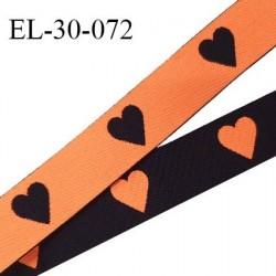 Elastique 30 mm spécial lingerie sport et caleçon motifs coeurs couleur noir et orange haut de gamme oeko tex prix au mètre