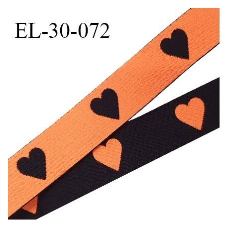 Elastique 30 mm spécial lingerie sport et caleçon motifs coeurs couleur noir et orange haut de gamme prix au mètre