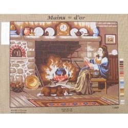 "Canevas à broder 50 x 60 cm marque MAINS D'OR thème ""au coin du feu"""