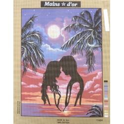 """Canevas à broder 50 x 60 cm marque MAINS D'OR thème """"les amoureux au clair de lune"""""""