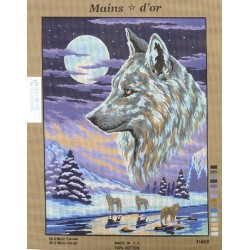 """Canevas à broder 50 x 60 cm marque MAINS D'OR thème """"les loups"""""""