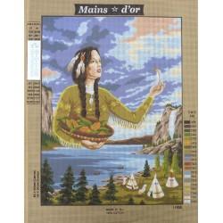 "Canevas à broder 50 x 60 cm marque MAINS D'OR thème ""indienne"""