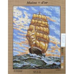 """Canevas à broder 50 x 60 cm marque MAINS D'OR thème """"le voilier"""""""