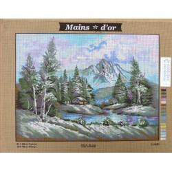 """Canevas à broder 50 x 60 cm marque MAINS D'OR thème """"cabane dans la foret"""""""