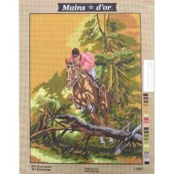 """Canevas à broder 50 x 60 cm marque MAINS D'OR thème """"cavalier chasse à courre"""""""